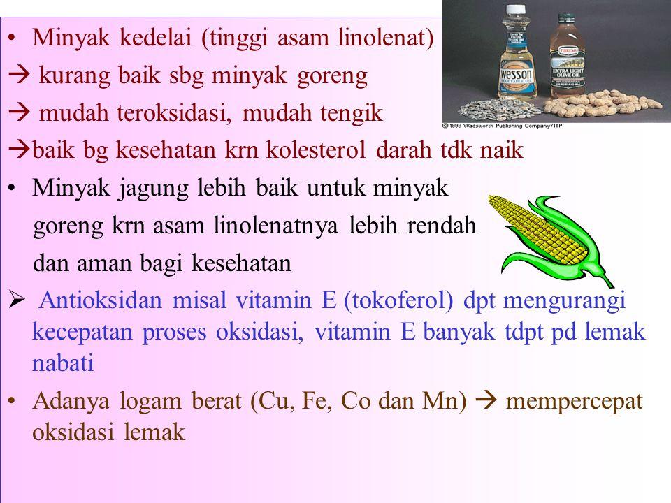 Minyak kedelai (tinggi asam linolenat)  kurang baik sbg minyak goreng  mudah teroksidasi, mudah tengik  baik bg kesehatan krn kolesterol darah tdk naik Minyak jagung lebih baik untuk minyak goreng krn asam linolenatnya lebih rendah dan aman bagi kesehatan  Antioksidan misal vitamin E (tokoferol) dpt mengurangi kecepatan proses oksidasi, vitamin E banyak tdpt pd lemak nabati Adanya logam berat (Cu, Fe, Co dan Mn)  mempercepat oksidasi lemak