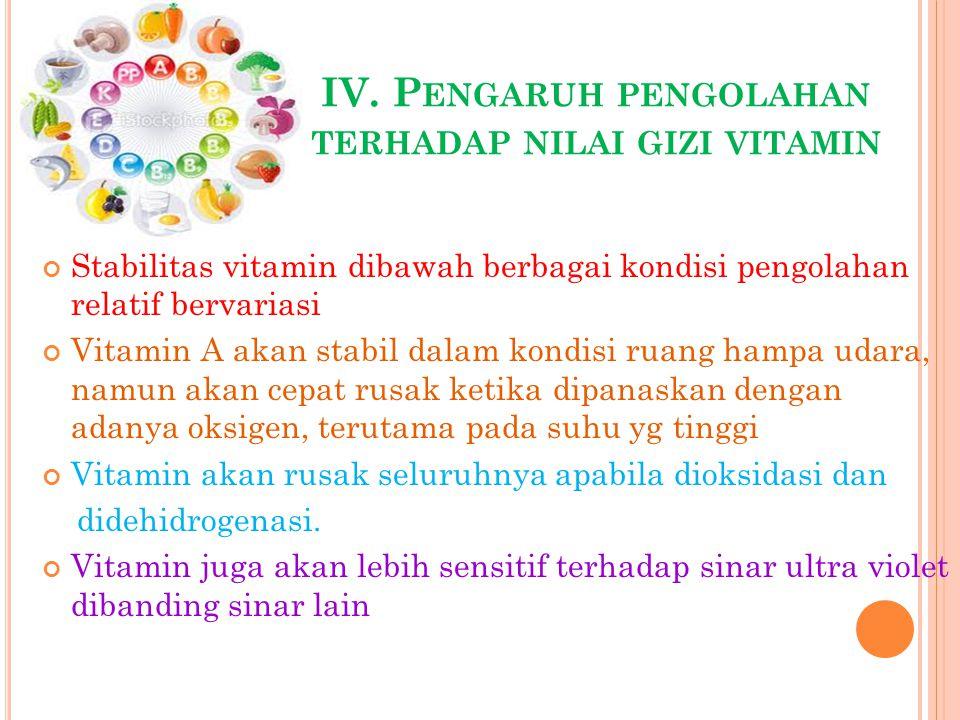 IV. P ENGARUH PENGOLAHAN TERHADAP NILAI GIZI VITAMIN Stabilitas vitamin dibawah berbagai kondisi pengolahan relatif bervariasi Vitamin A akan stabil d