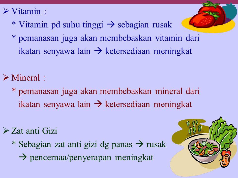  Vitamin : * Vitamin pd suhu tinggi  sebagian rusak * pemanasan juga akan membebaskan vitamin dari ikatan senyawa lain  ketersediaan meningkat  Mi