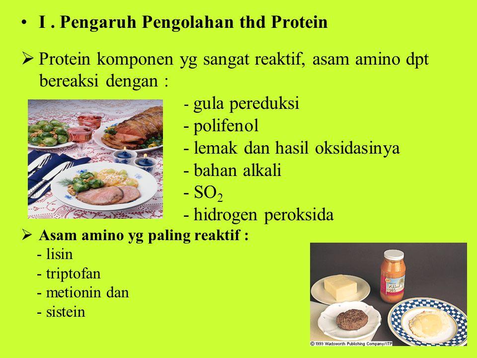 Protein/asam amino selama pengolahan akan memben- tuk kompleks kovalen atau teroksidasi  perubahan nilai gizi  daya cerna turun  Reaksi-reaksi yg terjadi : a.Reaksi Maillard Reaksi antara protein/asam amino dg gula pereduksi  Gugus amin (R-NH 2 ) dg gugus karbonil (-C=O)  Terjadi pewarnaan coklat (browning) Contoh : - pd pembakaran roti - pemanasan daging + bhn nabati - pemanasan susu - produksi breakfast cereals