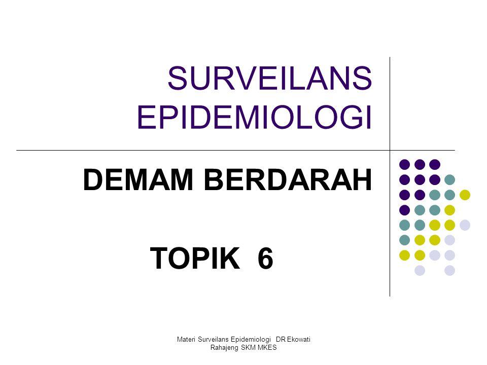 Materi Surveilans Epidemiologi DR Ekowati Rahajeng SKM MKES SURVEILANS EPIDEMIOLOGI DEMAM BERDARAH TOPIK 6