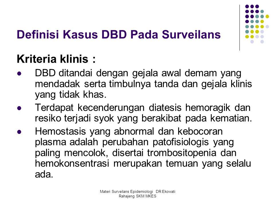 Materi Surveilans Epidemiologi DR Ekowati Rahajeng SKM MKES Definisi Kasus DBD Pada Surveilans Kriteria klinis : DBD ditandai dengan gejala awal demam