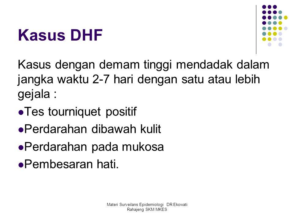 Materi Surveilans Epidemiologi DR Ekowati Rahajeng SKM MKES Kasus DHF Kasus dengan demam tinggi mendadak dalam jangka waktu 2-7 hari dengan satu atau