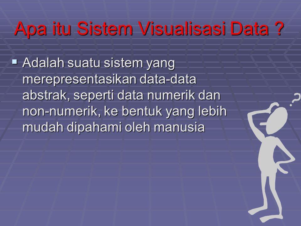 Apa itu Sistem Visualisasi Data ?  Adalah suatu sistem yang merepresentasikan data-data abstrak, seperti data numerik dan non-numerik, ke bentuk yang