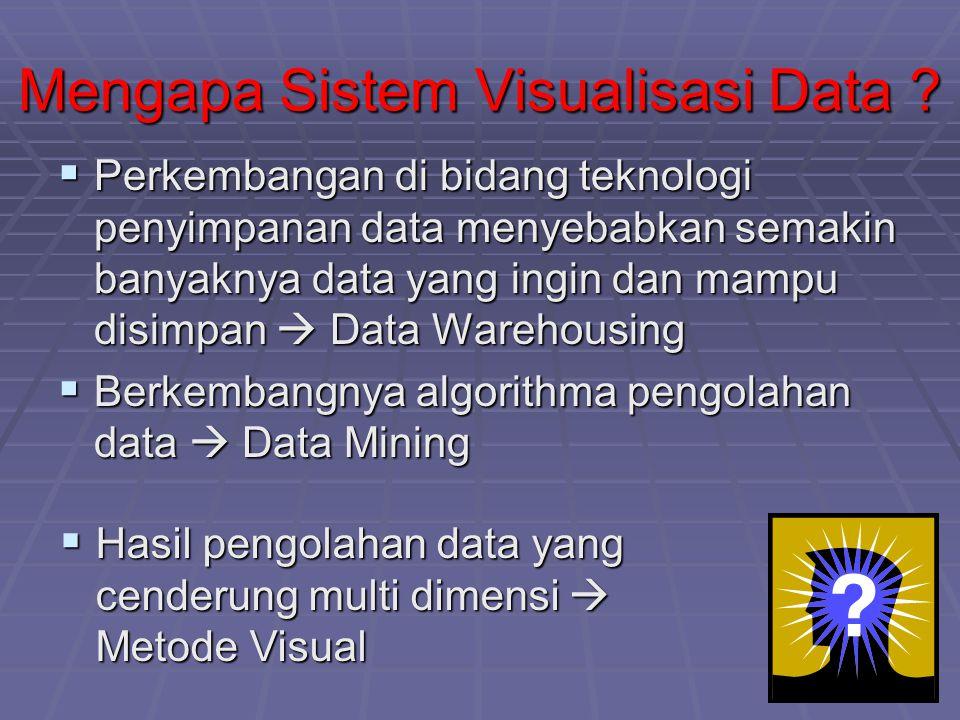 Mengapa Sistem Visualisasi Data ?  Perkembangan di bidang teknologi penyimpanan data menyebabkan semakin banyaknya data yang ingin dan mampu disimpan