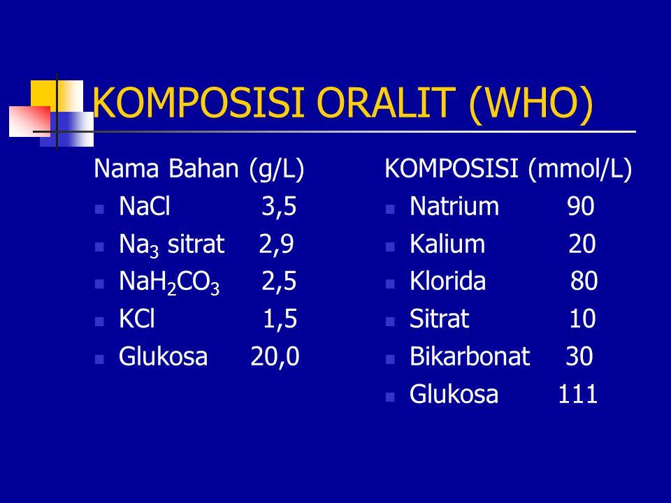 KOMPOSISI ORALIT (WHO) Nama Bahan (g/L) NaCl 3,5 Na 3 sitrat 2,9 NaH 2 CO 3 2,5 KCl 1,5 Glukosa 20,0 KOMPOSISI (mmol/L) Natrium 90 Kalium 20 Klorida 8
