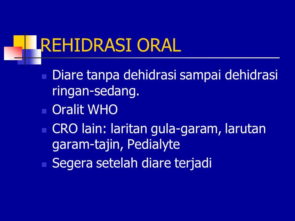REHIDRASI ORAL Diare tanpa dehidrasi sampai dehidrasi ringan-sedang. Oralit WHO CRO lain: laritan gula-garam, larutan garam-tajin, Pedialyte Segera se