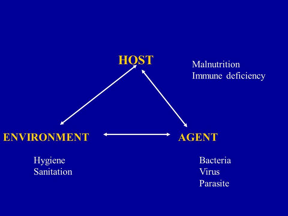 HOST ENVIRONMENTAGENT Malnutrition Immune deficiency Hygiene Sanitation Bacteria Virus Parasite