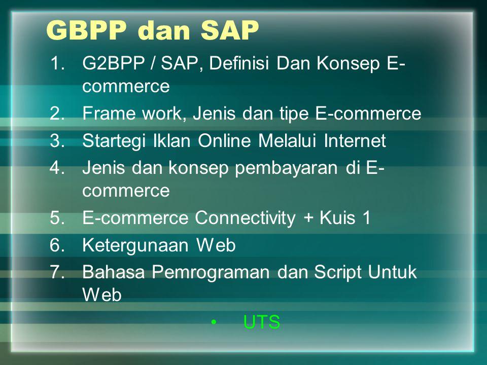 GBPP dan SAP 1.G2BPP / SAP, Definisi Dan Konsep E- commerce 2.Frame work, Jenis dan tipe E-commerce 3.Startegi Iklan Online Melalui Internet 4.Jenis d