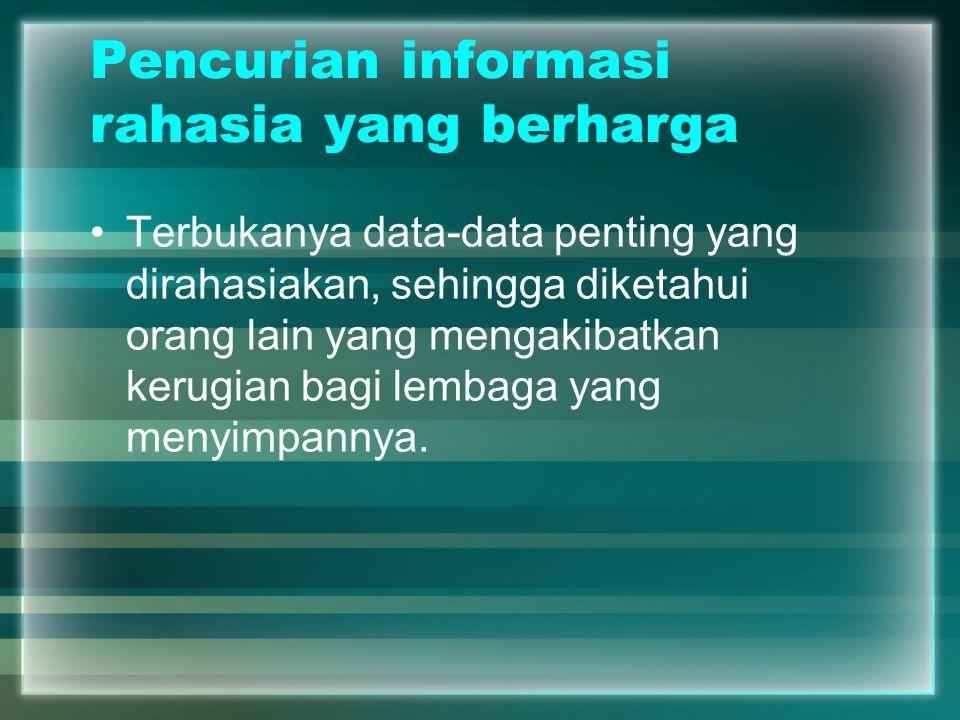 Pencurian informasi rahasia yang berharga Terbukanya data-data penting yang dirahasiakan, sehingga diketahui orang lain yang mengakibatkan kerugian ba