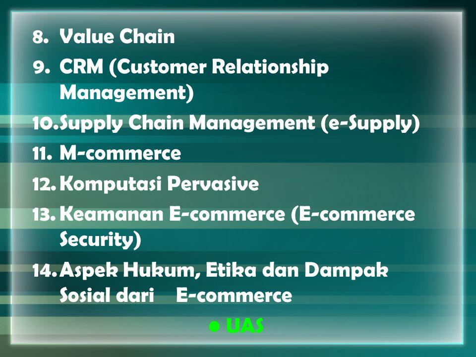 8.Value Chain 9.CRM (Customer Relationship Management) 10.Supply Chain Management (e-Supply) 11.M-commerce 12.Komputasi Pervasive 13.Keamanan E-commer