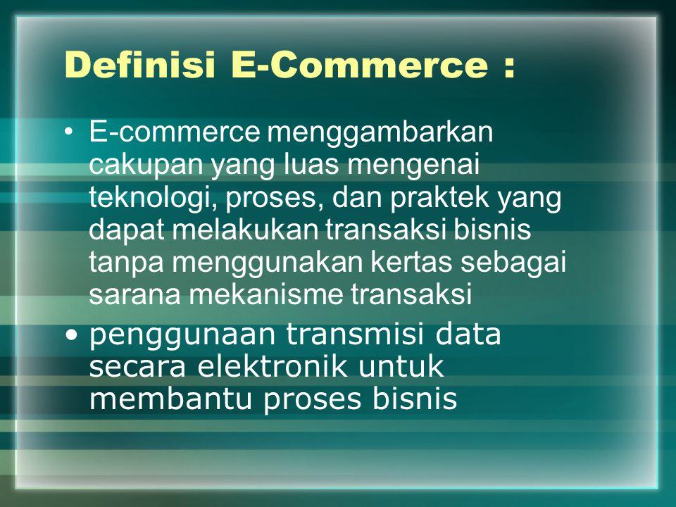 Definisi E-Commerce : E-commerce menggambarkan cakupan yang luas mengenai teknologi, proses, dan praktek yang dapat melakukan transaksi bisnis tanpa m