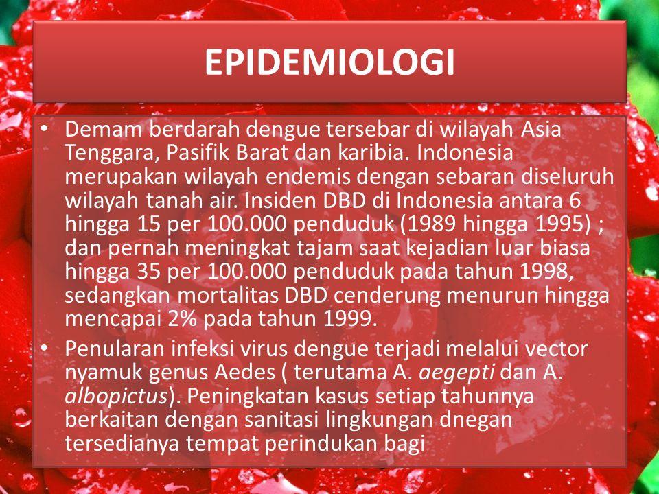 EPIDEMIOLOGI Demam berdarah dengue tersebar di wilayah Asia Tenggara, Pasifik Barat dan karibia.