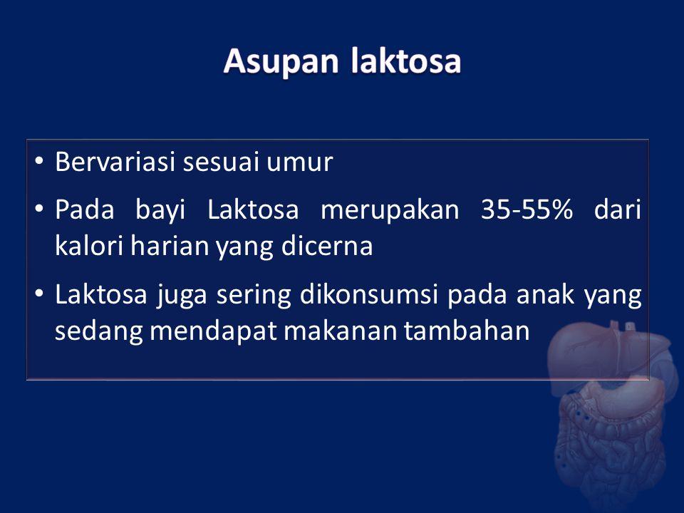 Bervariasi sesuai umur Pada bayi Laktosa merupakan 35-55% dari kalori harian yang dicerna Laktosa juga sering dikonsumsi pada anak yang sedang mendapa
