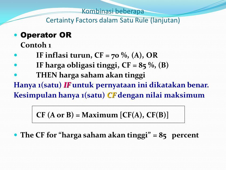 Operator OR Contoh 1 IF inflasi turun, CF = 70 %, (A), OR IF harga obligasi tinggi, CF = 85 %, (B) THEN harga saham akan tinggi IF Hanya 1(satu) IF untuk pernyataan ini dikatakan benar.