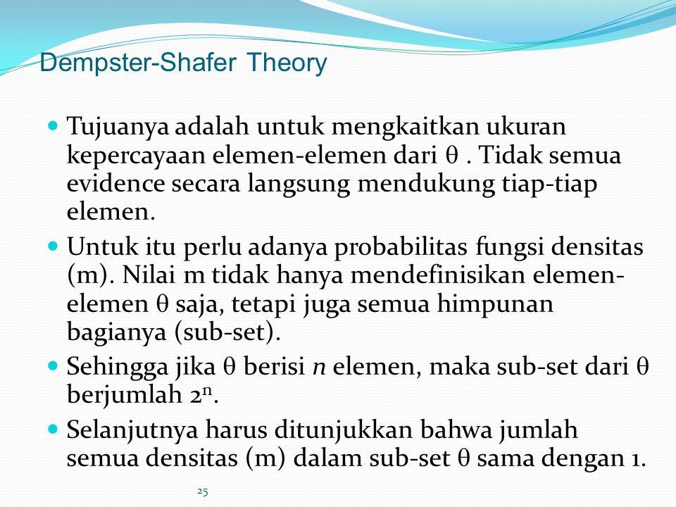 25 Dempster-Shafer Theory Tujuanya adalah untuk mengkaitkan ukuran kepercayaan elemen-elemen dari . Tidak semua evidence secara langsung mendukung ti