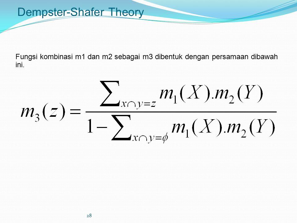 28 Dempster-Shafer Theory Fungsi kombinasi m1 dan m2 sebagai m3 dibentuk dengan persamaan dibawah ini.