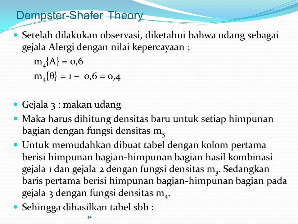 34 Dempster-Shafer Theory Setelah dilakukan observasi, diketahui bahwa udang sebagai gejala Alergi dengan nilai kepercayaan : m 4 {A} = 0,6 m 4 {  }
