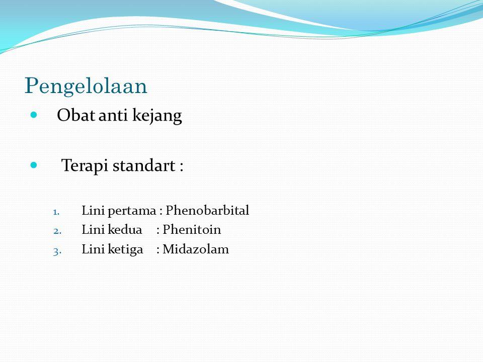 Pengelolaan Obat anti kejang Terapi standart : 1. Lini pertama : Phenobarbital 2. Lini kedua : Phenitoin 3. Lini ketiga : Midazolam