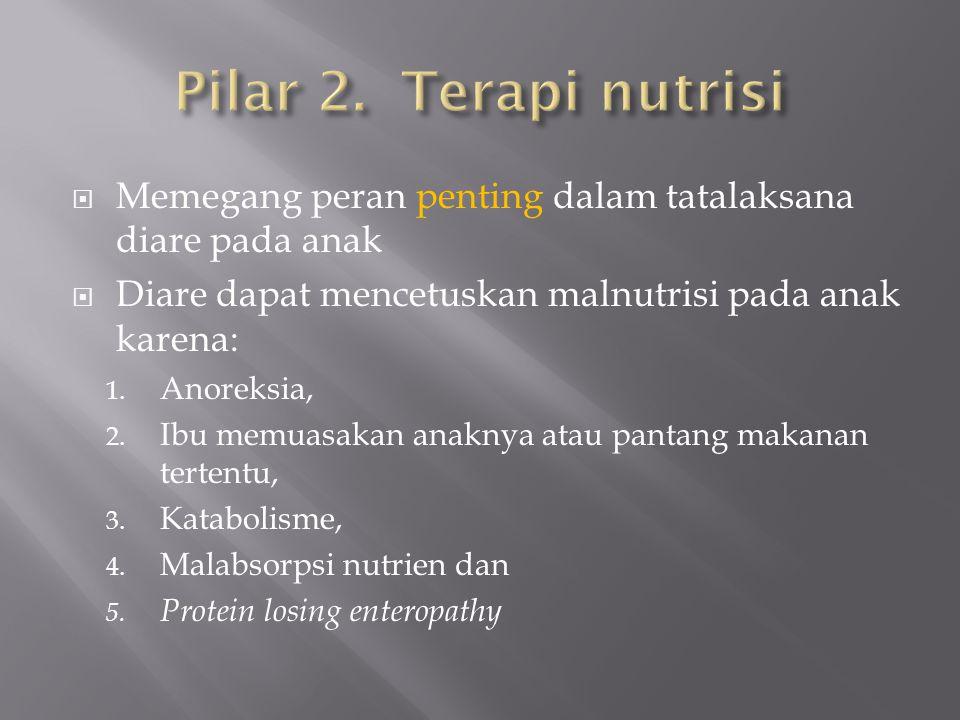 Memegang peran penting dalam tatalaksana diare pada anak  Diare dapat mencetuskan malnutrisi pada anak karena: 1. Anoreksia, 2. Ibu memuasakan anak