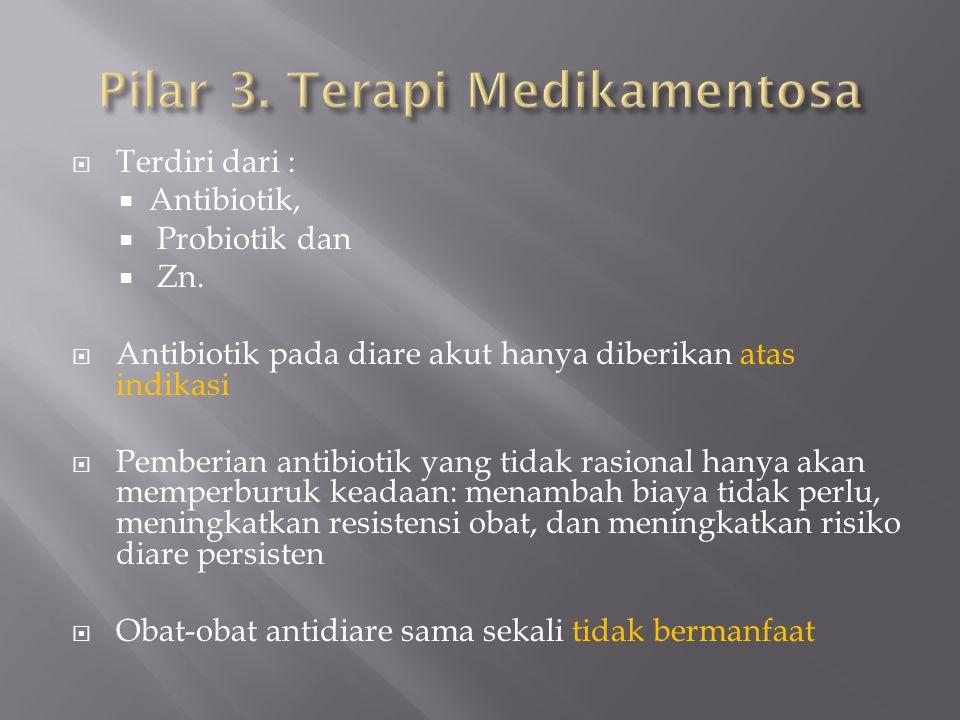  Terdiri dari :  Antibiotik,  Probiotik dan  Zn.  Antibiotik pada diare akut hanya diberikan atas indikasi  Pemberian antibiotik yang tidak rasi