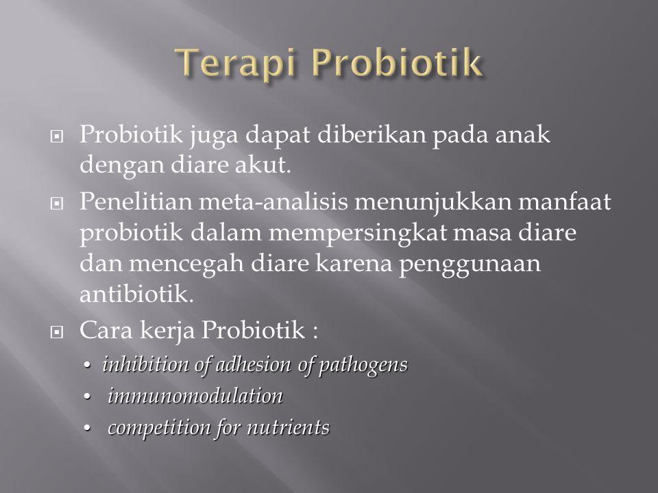  Probiotik juga dapat diberikan pada anak dengan diare akut.  Penelitian meta-analisis menunjukkan manfaat probiotik dalam mempersingkat masa diare