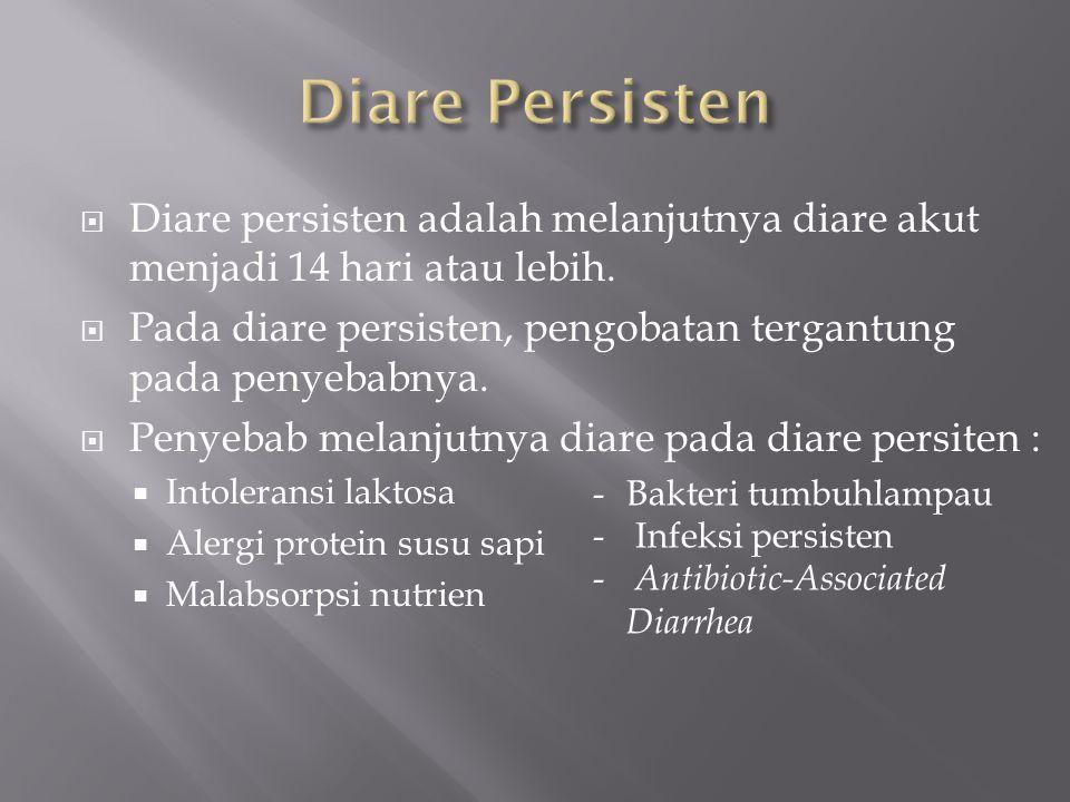  Diare persisten adalah melanjutnya diare akut menjadi 14 hari atau lebih.  Pada diare persisten, pengobatan tergantung pada penyebabnya.  Penyebab