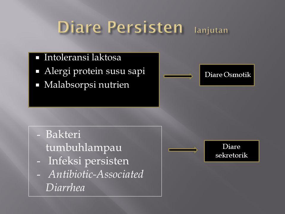  Intoleransi laktosa  Alergi protein susu sapi  Malabsorpsi nutrien Diare Osmotik -Bakteri tumbuhlampau - Infeksi persisten - Antibiotic-Associated