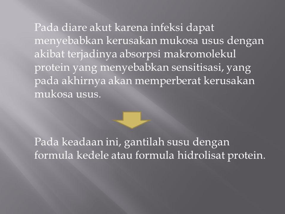 Pada diare akut karena infeksi dapat menyebabkan kerusakan mukosa usus dengan akibat terjadinya absorpsi makromolekul protein yang menyebabkan sensiti