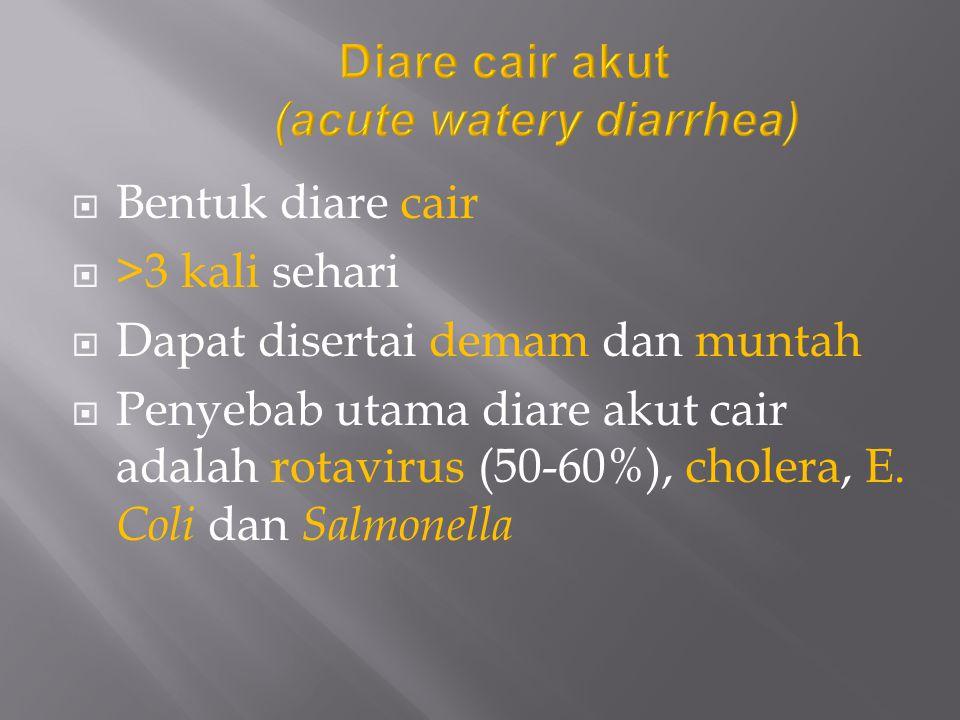  Bentuk diare cair  >3 kali sehari  Dapat disertai demam dan muntah  Penyebab utama diare akut cair adalah rotavirus (50-60%), cholera, E. Coli da