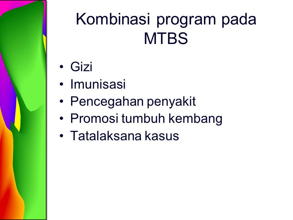 Kombinasi program pada MTBS Gizi Imunisasi Pencegahan penyakit Promosi tumbuh kembang Tatalaksana kasus