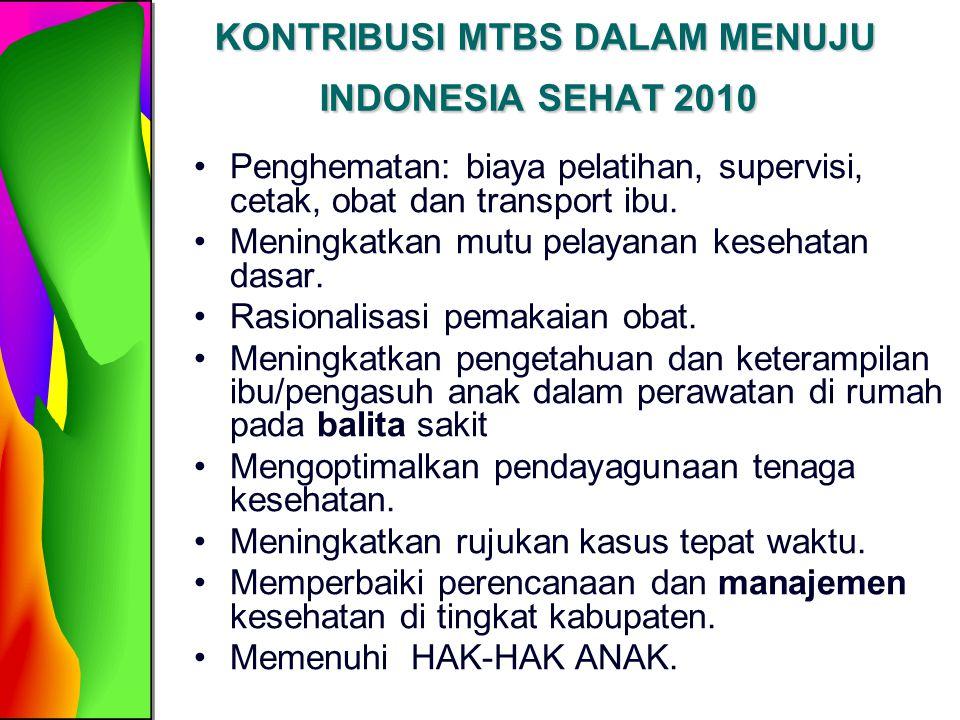 KONTRIBUSI MTBS DALAM MENUJU INDONESIA SEHAT 2010 KONTRIBUSI MTBS DALAM MENUJU INDONESIA SEHAT 2010 Penghematan: biaya pelatihan, supervisi, cetak, ob