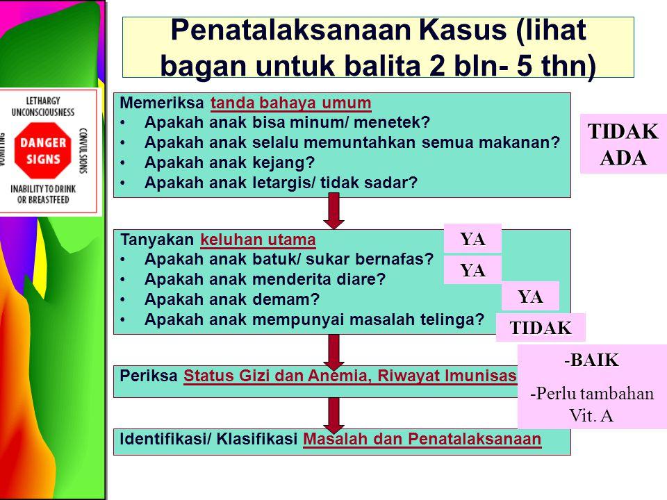 Identifikasi/ Klasifikasi Masalah dan Penatalaksanaan -Diare Dehidrasi Ringan/Sedang -Pneumonia -Malaria -Perlu supplementasi vitamin A (hal.7) DIARE Dehidrasi Ringan/ Sedang PNEUMONIAMALARIA -Rencana Terapi B (hal.13) -Bila keadaan berat  Rujuk -Nasihati ibu kpn kembali (hal.22) -Kunjungan ulang 5 hari bila tdk ada perbaikan -Antibiotika yang sesuai selama 5 hari (hal.8) -Pereda batuk yg aman -Nasihati ibu kpn kembali (hal.