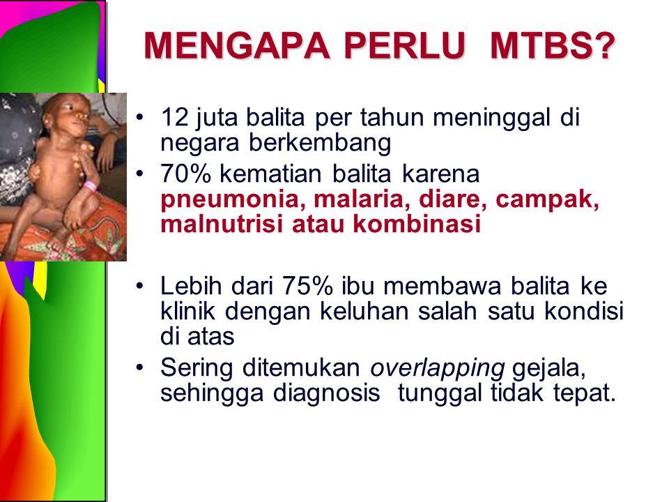 MENGAPA PERLU MTBS? 12 juta balita per tahun meninggal di negara berkembang 70% kematian balita karena pneumonia, malaria, diare, campak, malnutrisi a