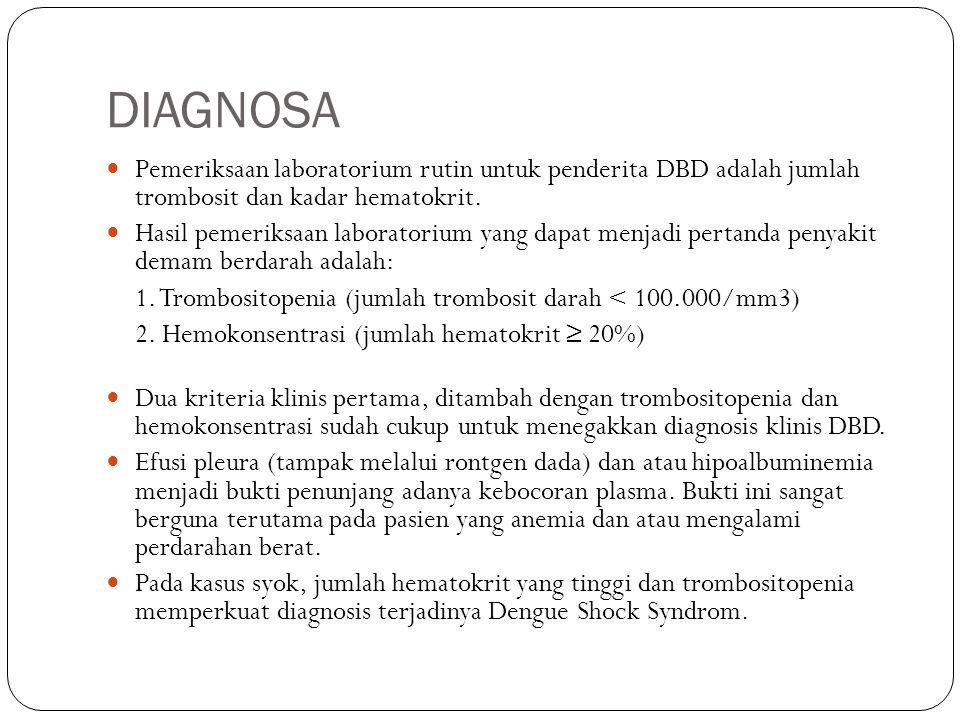 DIAGNOSA Pemeriksaan laboratorium rutin untuk penderita DBD adalah jumlah trombosit dan kadar hematokrit. Hasil pemeriksaan laboratorium yang dapat me