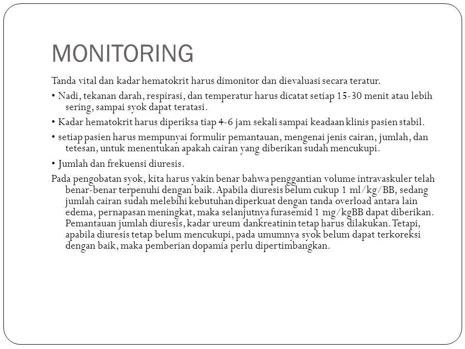 MONITORING Tanda vital dan kadar hematokrit harus dimonitor dan dievaluasi secara teratur. Nadi, tekanan darah, respirasi, dan temperatur harus dicata