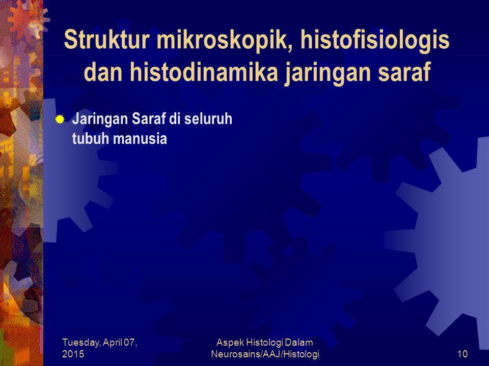 Tuesday, April 07, 2015 Aspek Histologi Dalam Neurosains/AAJ/Histologi10  Jaringan Saraf di seluruh tubuh manusia Struktur mikroskopik, histofisiolog