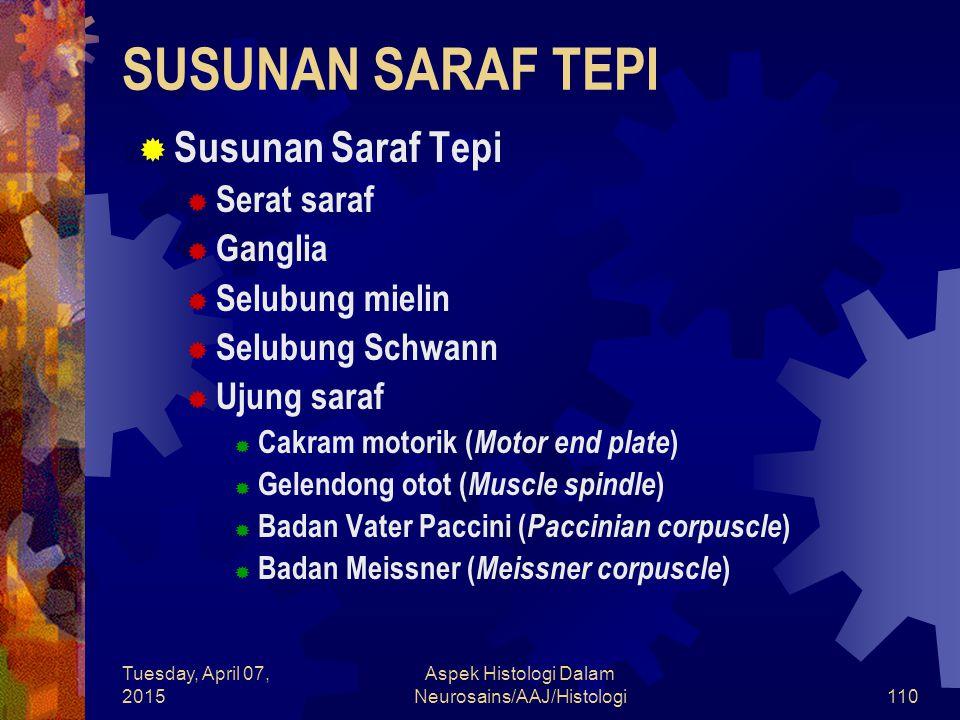 Tuesday, April 07, 2015 Aspek Histologi Dalam Neurosains/AAJ/Histologi110 SUSUNAN SARAF TEPI  Susunan Saraf Tepi  Serat saraf  Ganglia  Selubung m