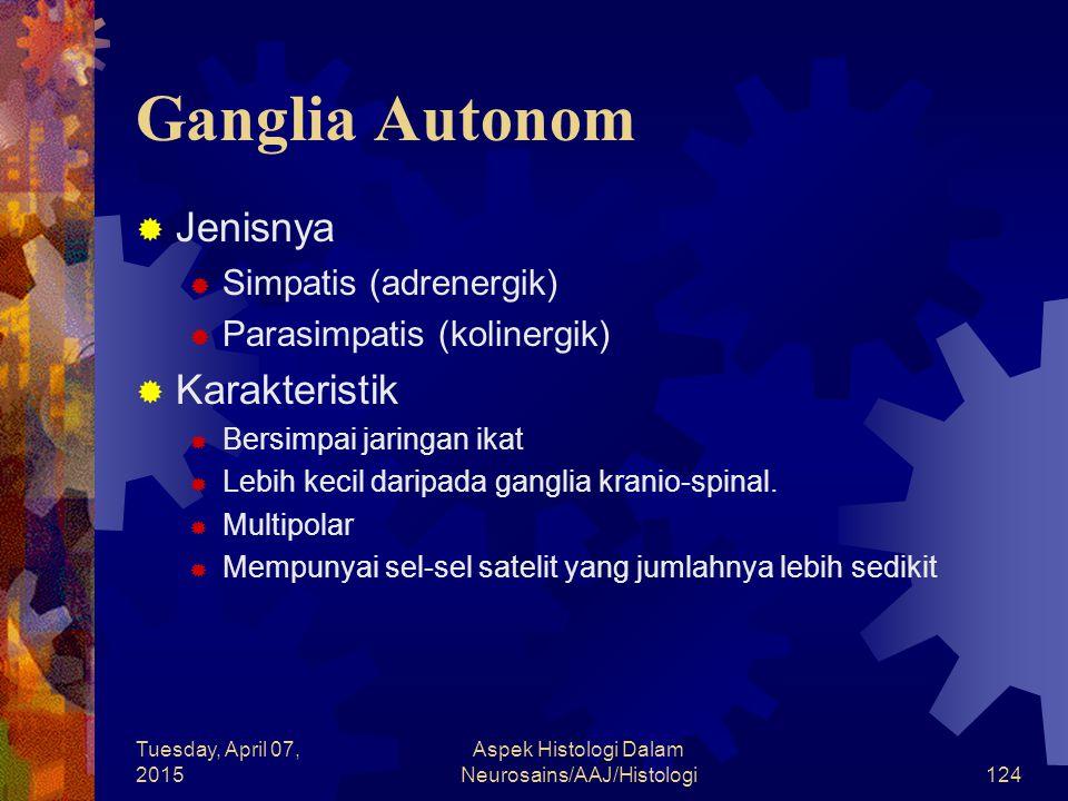 Tuesday, April 07, 2015 Aspek Histologi Dalam Neurosains/AAJ/Histologi124 Ganglia Autonom  Jenisnya  Simpatis (adrenergik)  Parasimpatis (kolinergi