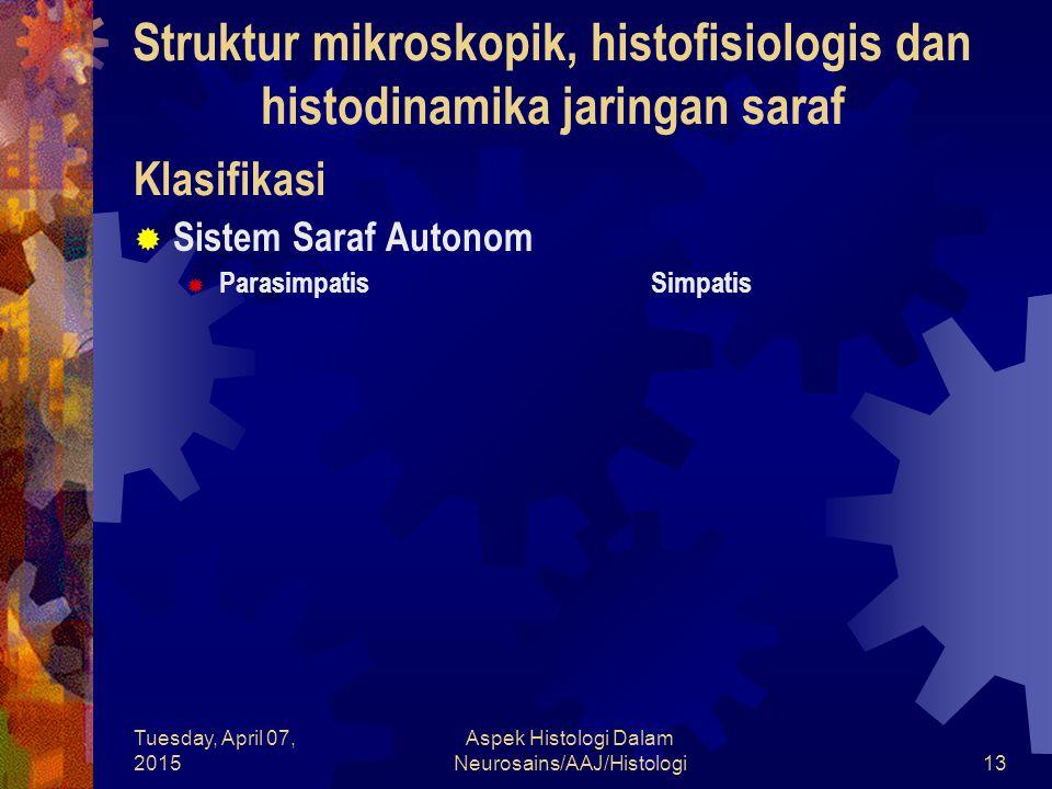 Tuesday, April 07, 2015 Aspek Histologi Dalam Neurosains/AAJ/Histologi13  Sistem Saraf Autonom  Parasimpatis Simpatis Klasifikasi Struktur mikroskop
