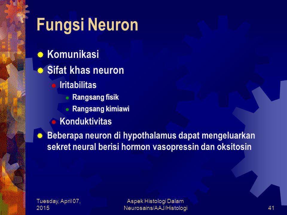 Tuesday, April 07, 2015 Aspek Histologi Dalam Neurosains/AAJ/Histologi41 Fungsi Neuron  Komunikasi  Sifat khas neuron  Iritabilitas  Rangsang fisi