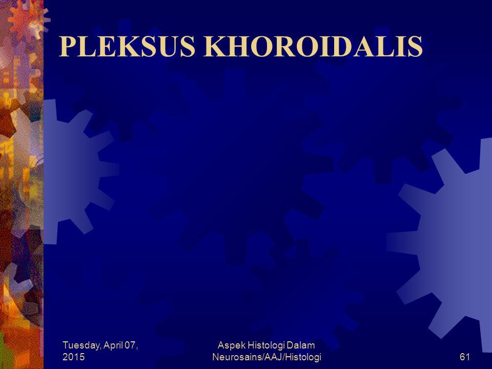 Tuesday, April 07, 2015 Aspek Histologi Dalam Neurosains/AAJ/Histologi61 PLEKSUS KHOROIDALIS