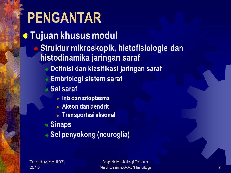 Tuesday, April 07, 2015 Aspek Histologi Dalam Neurosains/AAJ/Histologi7 PENGANTAR  Tujuan khusus modul  Struktur mikroskopik, histofisiologis dan hi