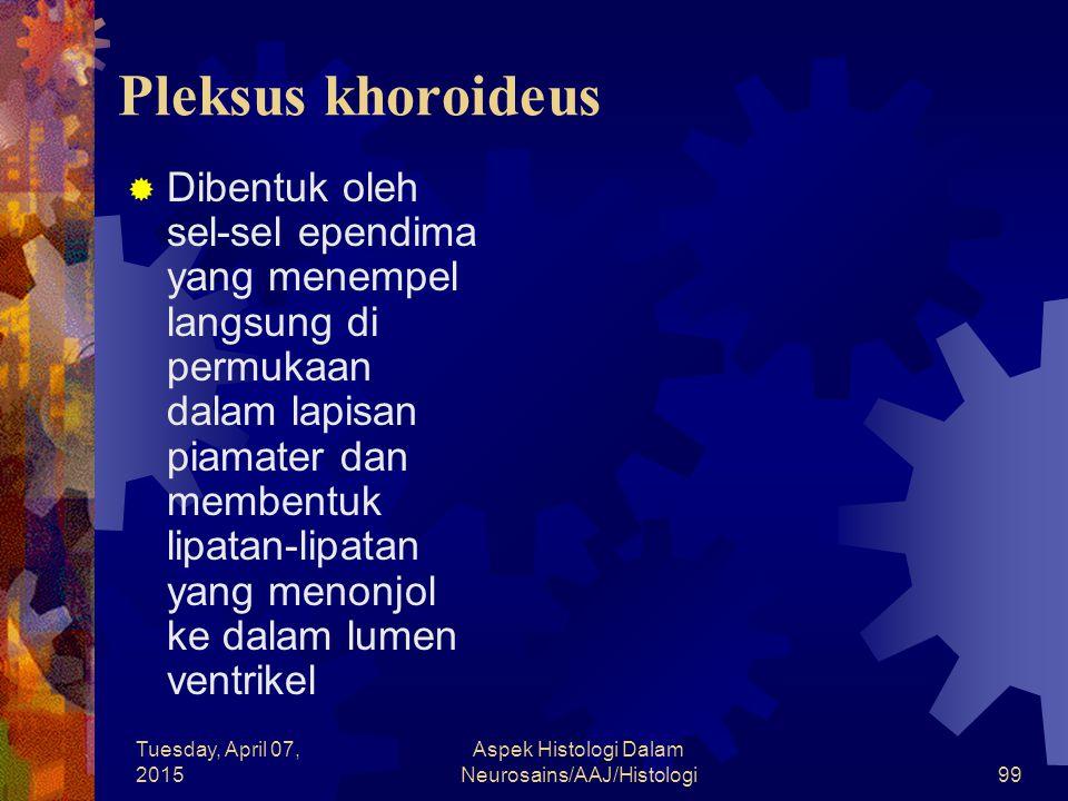 Tuesday, April 07, 2015 Aspek Histologi Dalam Neurosains/AAJ/Histologi99 Pleksus khoroideus  Dibentuk oleh sel-sel ependima yang menempel langsung di