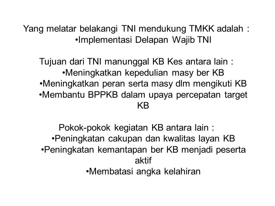 Yang melatar belakangi TNI mendukung TMKK adalah : Implementasi Delapan Wajib TNI Tujuan dari TNI manunggal KB Kes antara lain : Meningkatkan kepeduli