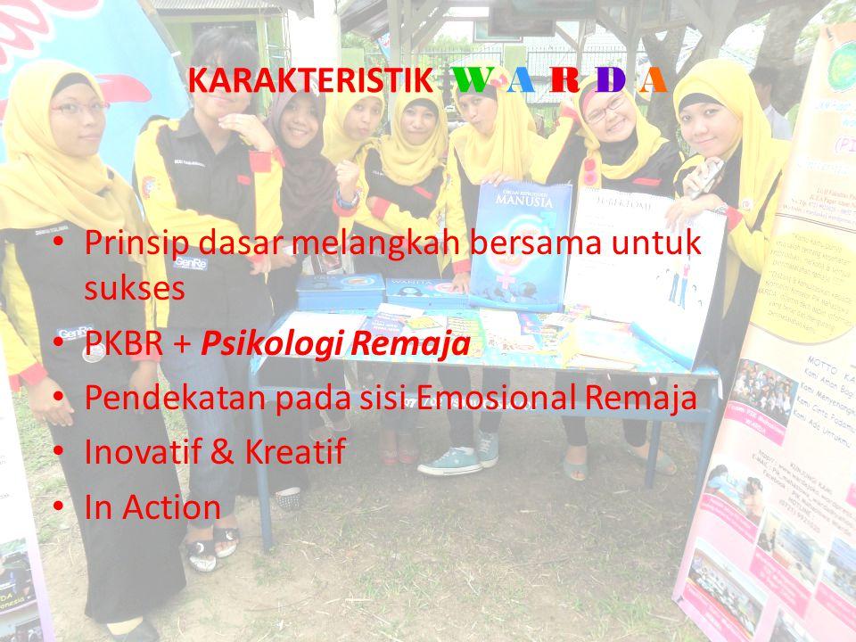 KARAKTERISTIK W A R D A Prinsip dasar melangkah bersama untuk sukses PKBR + Psikologi Remaja Pendekatan pada sisi Emosional Remaja Inovatif & Kreatif In Action