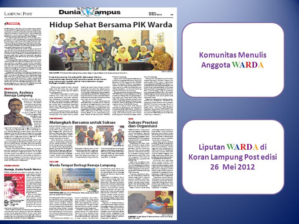 Liputan WARDA di Koran Lampung Post edisi 26 Mei 2012 Komunitas Menulis Anggota WARDA