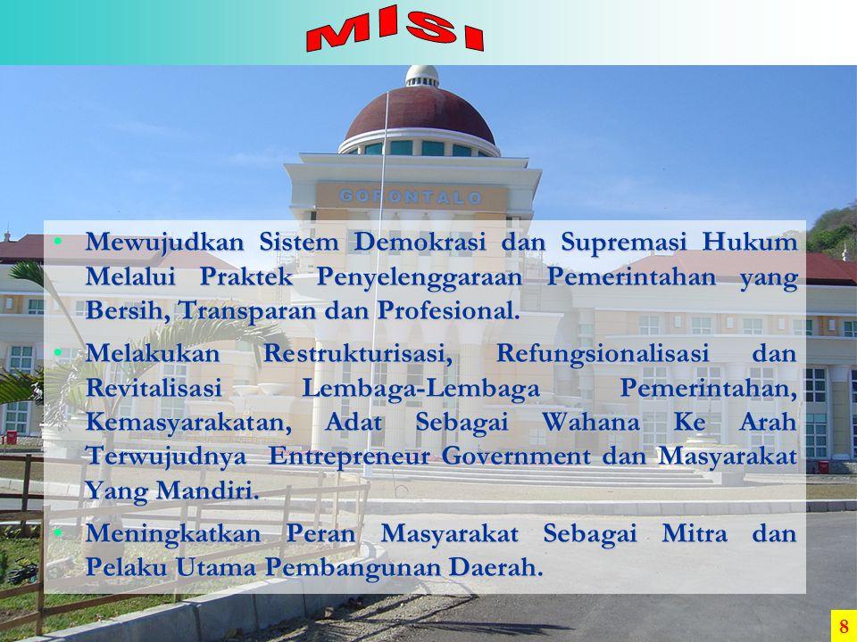 PertanianJasaPdagang THN 0 % 5 % 10 % 15 % 20 % 25 % 30 % 35 % 40 % 30,66 % 21,76 % 34,20 % Sumber : BPS (2004) Bapppeda Provinsi Gorontalo Lain-lain 13,30 % 29