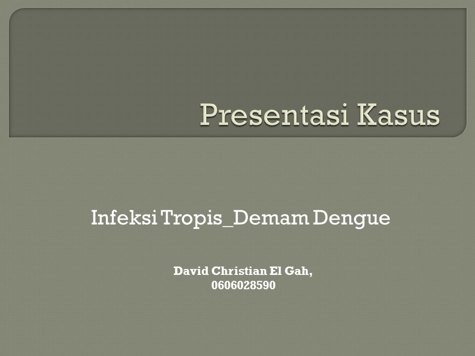 Infeksi Tropis_Demam Dengue David Christian El Gah, 0606028590