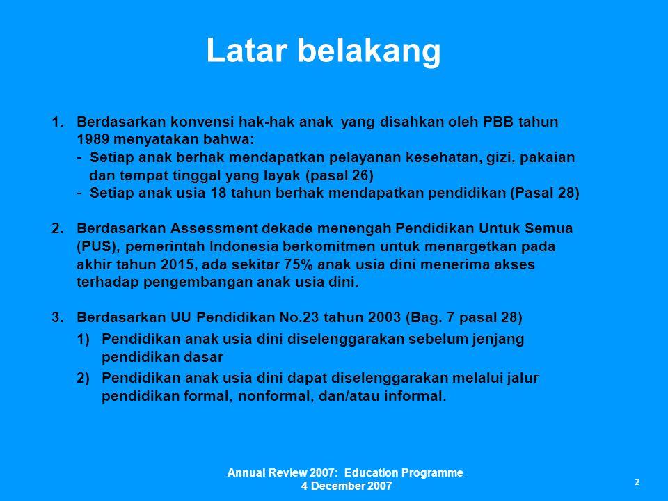 Current status of ECD in Indonesia